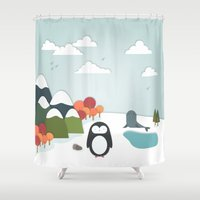 biology Shower Curtains featuring South Pole by General Design Studio