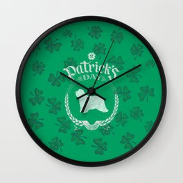 St. Patrick's Day Bearded Collie Funny Gifts for Dog Lovers Wall Clock