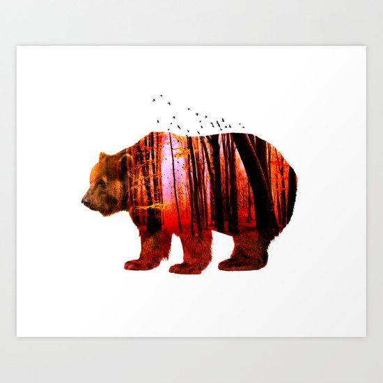 Bear in red forest Art Print