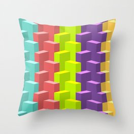 Colored Cubes in 3d Throw Pillow
