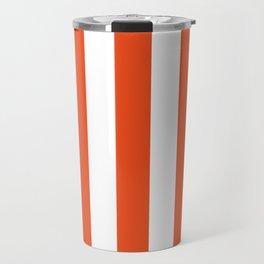 Microsoft red orange - solid color - white vertical lines pattern Travel Mug
