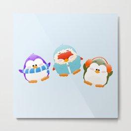 Cozy Penguins Metal Print