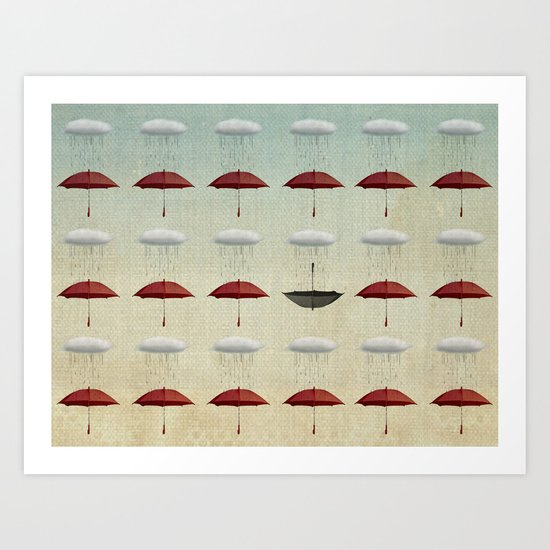 embracing the rain pattern Art Print