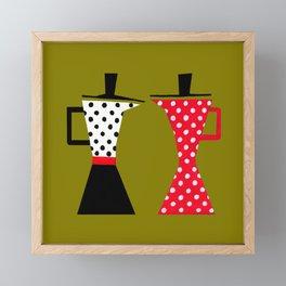 Ole coffee pot in olive green Framed Mini Art Print