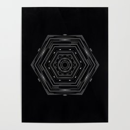 Detailed tribal geometry design, black and white geometric Poster