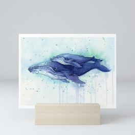 Humpback Whale Watercolor Mom and Baby Painting Whales Sea Creatures Mini Art Print