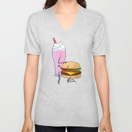 A burger and a Shake Unisex V-Neck