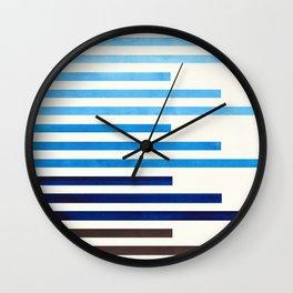 Mid Century Modern Minimalist Circle Round Photo Prussian Blue Staggered Stripe Pattern Wall Clock