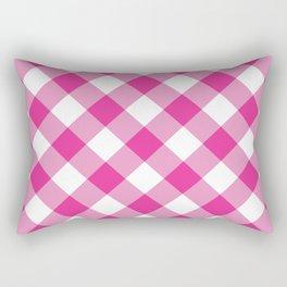Gingham - Pink Rectangular Pillow