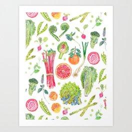 Spring Harvest Pattern White Art Print