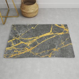 Matte black marble with gold Rug