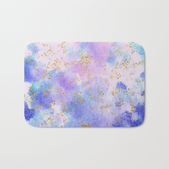 Lavender teal swirls gold Bath Mat