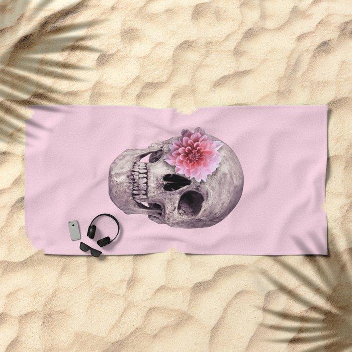 FLOWER SKULL Beach Towel