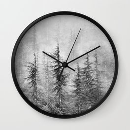 """""""Wilderness"""". Into the foggy mountains Wall Clock"""