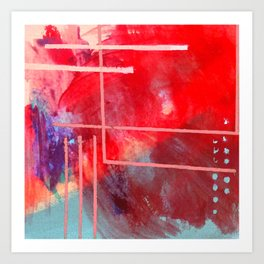 Jubilee: a vibrant abstract piece in reds and pinks Art Print