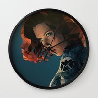 black widow Wall Clocks featuring Black Widow by Chelsea Lindsay