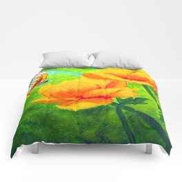 Butterfly with flowers Comforters