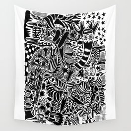 Antuan Rene Chaos style 1, Cuban chaotic art, Graphic Absurd, disorder Wall Tapestry