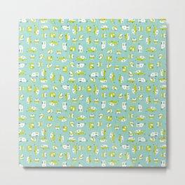 Lime Campers on Aqua Metal Print
