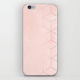 Rose Gold Pink Pastel Geometric Cubes iPhone Skin
