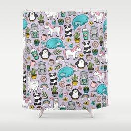 Narwhal and Friends, Emoji Tween Print, Unicorn, Cute Panda, Frappuccino, Penguin, Hippo Girls Art Shower Curtain
