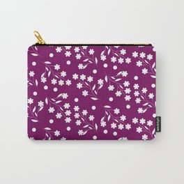 Floral pattern with a Maroon background Carry-All Pouch