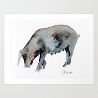 pig Art Prints featuring Pig by Elena Sandovici