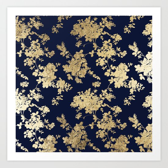 Elegant vintage navy blue faux gold flowers by pink_water