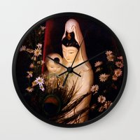 budi satria kwan Wall Clocks featuring Quan Yin/ Kwan Yin by Bella Mahri-PhotoArt By Tina