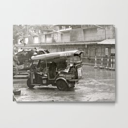 Tuk Tuk In The Rain Metal Print