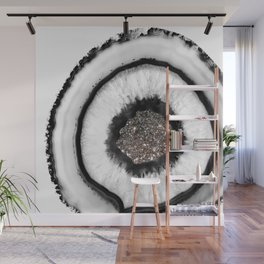 White Agate with Silver Glitter Glam #1 #gem #decor #art #society6 Wall Mural