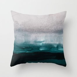 pale pink over dark teal Throw Pillow