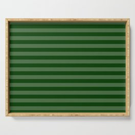 Forest Green Thin Horizontal Stripes Serving Tray