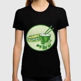 Banh Mi Rice Bowl Coriander Circle Retro T-shirt