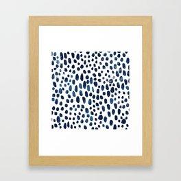 Blue Watercolour Spots Framed Art Print