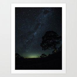 Landscape Photography Milky Way Galaxy Night Sky Stars Tree Silhouette Green Blue Ombre Sky Art Print