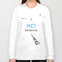kansas city Long Sleeve T-shirts featuring Kansas City Airport code poster by Good vibes and coffee