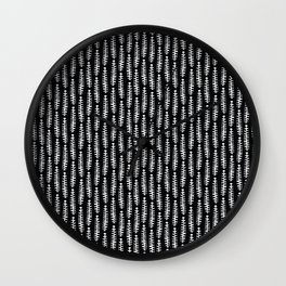 Monochrome Abstract Leaves Pattern Large Wall Clock