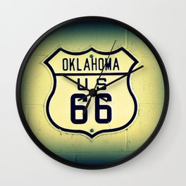 Historic U.S. old Route 66 sign in Oklahoma. Wall Clock
