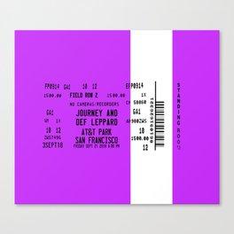 Concert Ticket Stub - Journey at AT&T Park - PURPLE Canvas Print