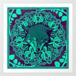 Radial Totem - Wolf Art Print