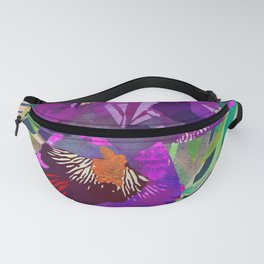 Watercolor Iris Flower with Shadows - Bright Purple & Pink Fanny Pack