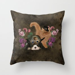 Cute Cavalier King Charles Spaniel and cat Throw Pillow