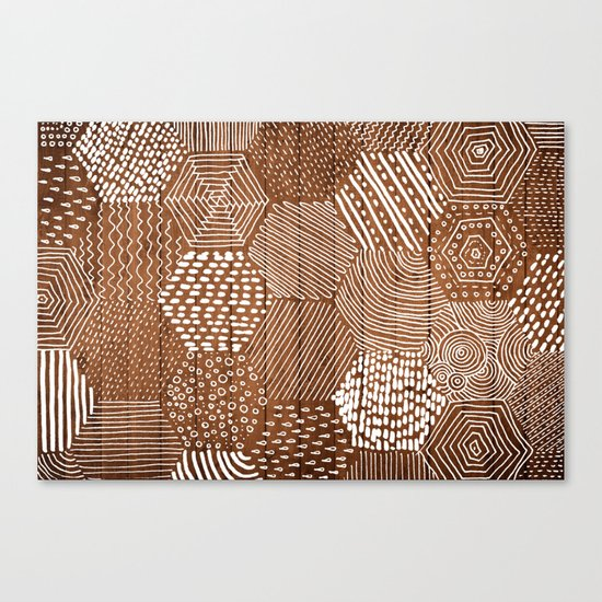 hexagon doodle patterns on wood Canvas Print