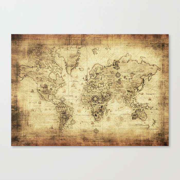 Old World Map Canvas.Old World Map Canvas Print By Foxxmap Society6