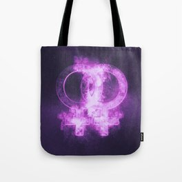 Female homosexuality symbol. Lesbian glyph. Doubled female sign. Abstract night sky background Tote Bag