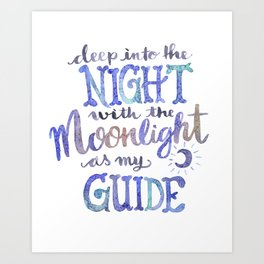 Watercolor Moonlight Lettering Art Print