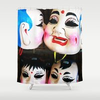 mask Shower Curtains featuring Mask by M. Noelle Studios