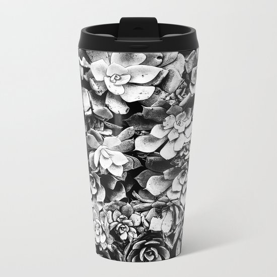 Black And White Plants Metal Travel Mug