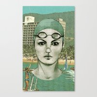 swim Canvas Prints featuring SWIM by Camila Fernandez
